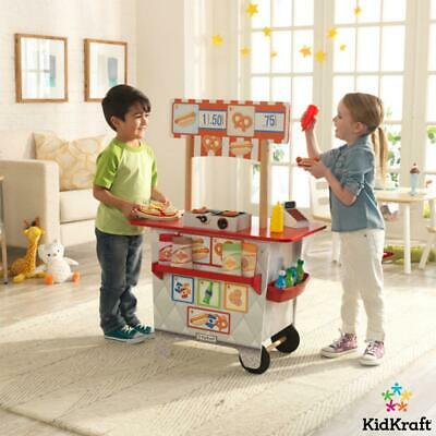 Kidkraft Kids Snack Serving Stand + 54-Piece Food And Accessory Play Set UK Cart