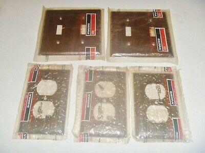 Lot of 5 Vintage Sierra Wood-Grain Metal Toggle Outlet Switch Wall Plate Cover