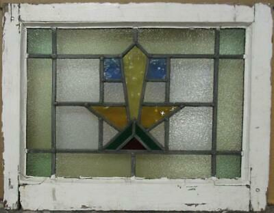 "OLD ENGLISH LEADED STAINED GLASS WINDOW Stunning Bordered Geometric 21"" x 16.5"""