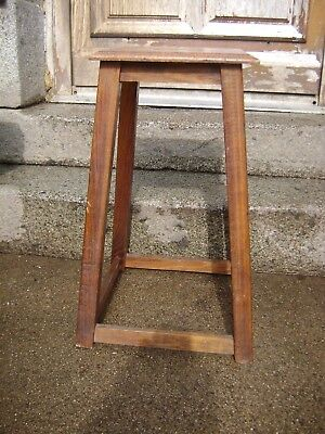vintage  laboratory stool bevelled edge seat hole for lifting solid wood
