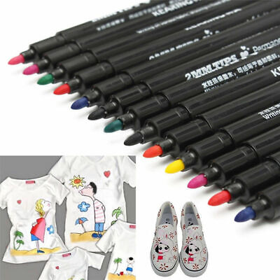 8Colors Permanent Fabric Paint Marker T-Shirt Pen For Shoes Clothes DIY Tool