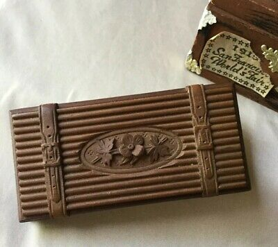 Antique 19c Victorian Era Hand Carved Walnut Triple Stamp Box Signed Dated MINT