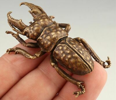 Unique Chinese Bronze Statue Animal Beetle Solid Mascot Collection Gift