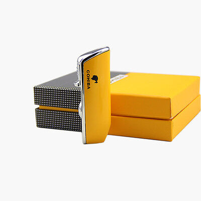 COHIBA Yellow Metal 3 TORCH JET FLAME CIGAR CIGARETTE LIGHTER With PUNCH