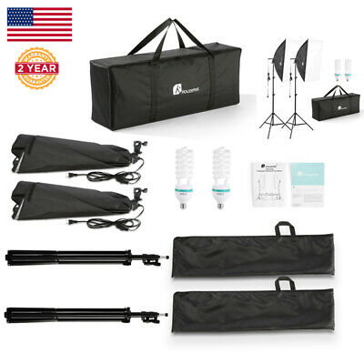 Photography Studio 700W Continuous Soft Box Photo Lighting Kit Stand Bulb Tool