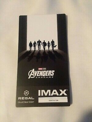 New Marvel AVENGERS ENDGAME  Week 2 Collectible Regal IMAX Ticket #75 of 1000