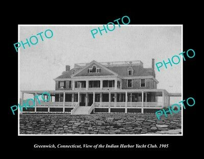 Old Postcard Size Photo Greenwich Connecticut The Indian Harbor Yacht Club 1905