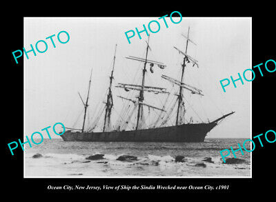 OLD POSTCARD SIZE PHOTO OCEAN CITY NEW JERSEY THE WRECK OF THE SINDIA c1901