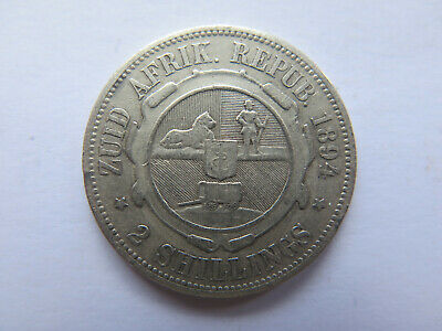 1894 ZAR SOUTH AFRICA 2 SHILLINGS SILVER COIN in NICE COLLECTABLE CONDITION