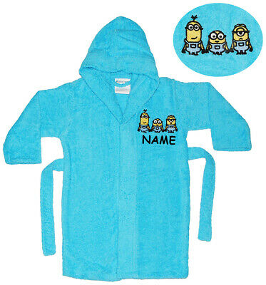 """Frottee Bademantel - """" Minions """" - incl. Name - 2 bis 11 Jahre / Gr. 92 - 146 -"""