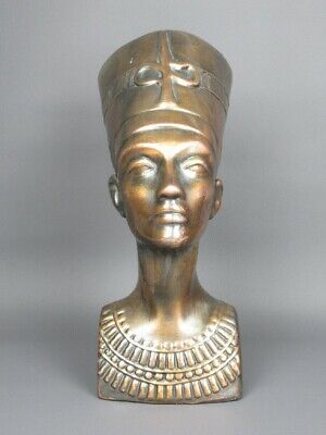Antique Jar Head Egyptian Bust Nefertiti Ceramics and Copper Period Xx Sec.