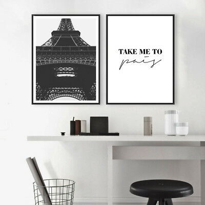 Paris Eiffel Tower Landscape Canvas Poster Motivational Art Prints Home Decor