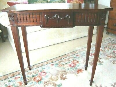 Antique Reproduction Slim Lamp Hall Side Console Table Tapering Legs One Drawer