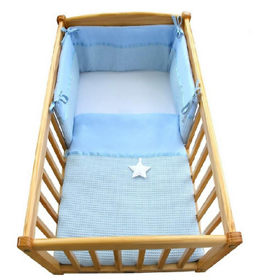 Brand new Clair de lune Waffle crib cradle quilt and bumper set in blue star