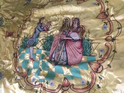 Rare Antique Italian Yellow Hamasco A Mano S. Leucio Hand Paint Bedspread