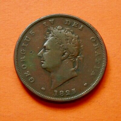 King George Iv Penny Coin 1825 Good Grade. See Pictures