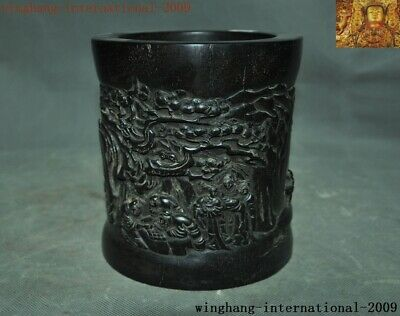 Old Chinese Rosewood Wood Hand-carved Ancient pine Old man Brush pot pencil vase