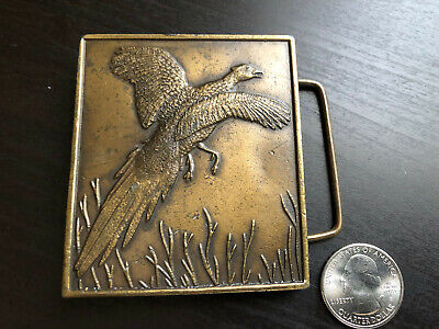 Vintage 1970s Flying Wild Pheasant Brass Bergamot Belt Buckle D-144