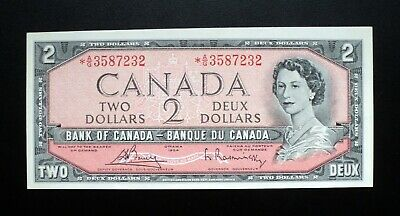 1954 Bank of Canada $2 Dollars Replacement Note *A/G 3587232  BC-38cA