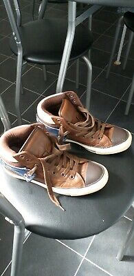 Converse All Star Brown Leather Lace Up Hi Tops Unisex Size Uk 5 Mens Boys Girls