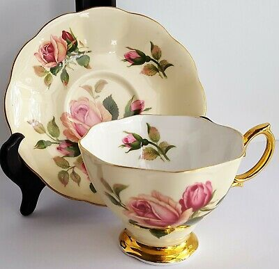 Royal Albert Bone China Footed Vintage Teacup & Saucer English Beauty Yellow