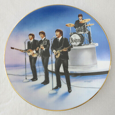 """THE BEATLES """"Live in Concert"""" Collector Plate; COA, Box, More - Never Displayed"""