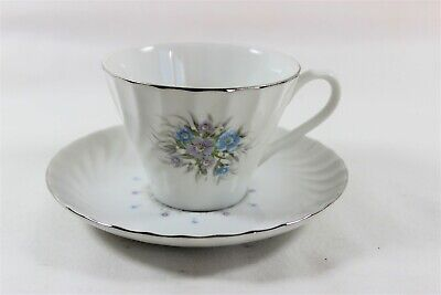 Bristol Fine China Japan Lisa Teacup and Saucer Silver Trim