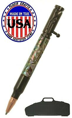 Bolt Action Ballpoint In Rifle Case with Genuine Abalone Pearl & Gun Metal #341