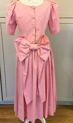 0517c5a76a Vintage Laura Ashley Pink Cotton Dress Bow Fit Flare Tea Party Wedding Size  10