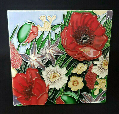"Ceramic Tile 6"" x 6""  Multi-Color Floral Hand Painted Wall Art Decor"