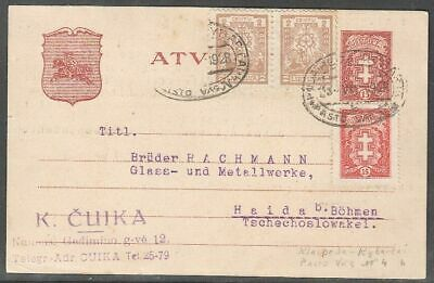 Lithuania 1928 Postal stationery Mi P13, Used, one stamp missing