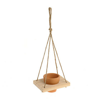 Terracotta Single Plant Pot Hanging Holder With Rope Decoration Garden Ornament