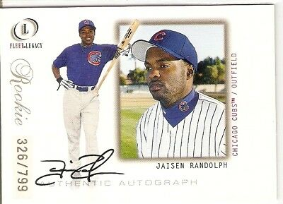 Jaisen Randolph Autograph Rookie Serial #/799 2001 Fleer Legacy 100 Chicago Cubs
