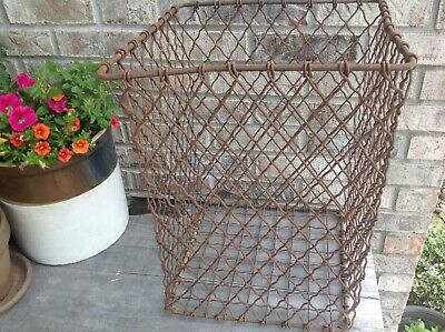 Vintage Metal Industrial Steampunk Wire Trash Bin Rusty Basket Farmhouse Decor