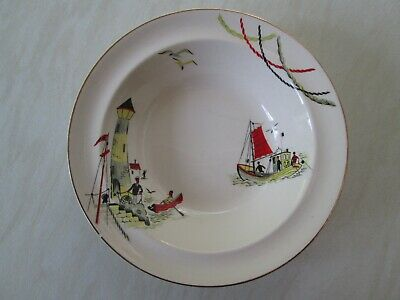 Alfred Meakin soup or dessert bowl in the St Ives fisherman design