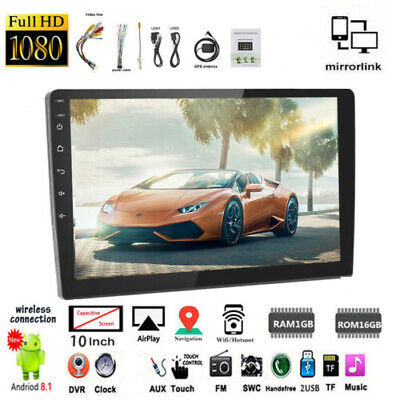10.1''2 Din Android GPS Car Radio+Camera FM Touch Screen BT ios Mirror Link Wifi