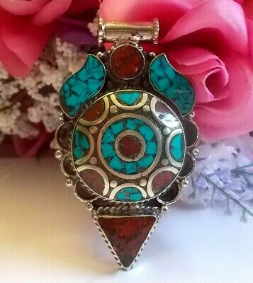 Tibetan Silver Turquoise And Red Coral Gemstone Ethnic Handmade Pendant.