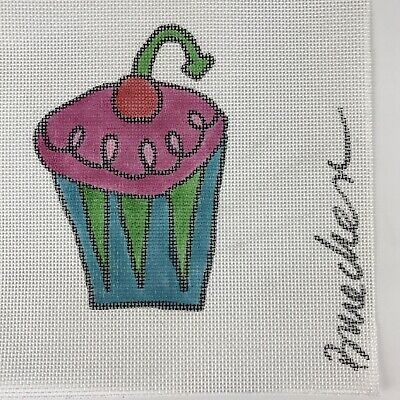 "Amy Bruecken Cupcake with Cherry Hand Painted Needlepoint Canvas 4""x6"", 14 Count"