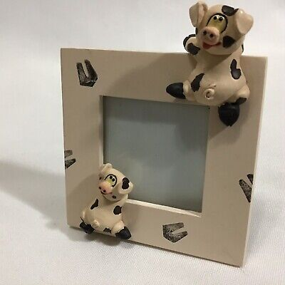 Two Climbing Pigs 3D Small 3x3 Pink Wooden Desk Photo Picture Standing Frame