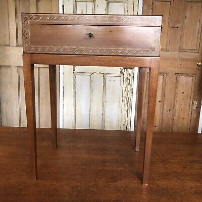 Wooden Inlaid  Antique Side Table Canteen Of Cutlery Stand With Key