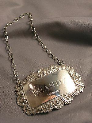 Vintage English Sterling Silver Brandy Liquor Label on Chain London 1975