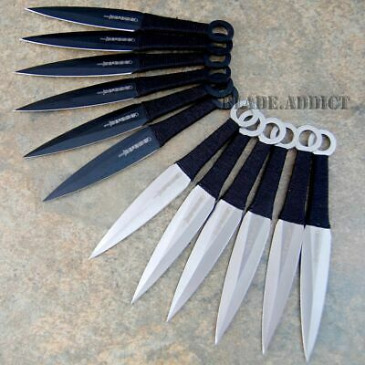 "12PC 6"" Ninja Tactical Combat Naruto Kunai Throwing Hunting Knife Set + CASE c"