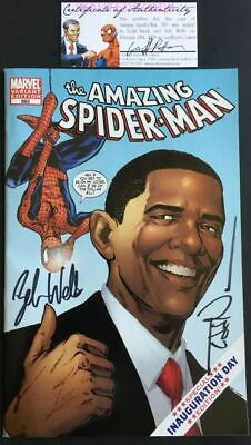 Amazing Spider-Man #583 Obama Variant Cover Signed By Zeb Wells Todd Nauck Coa 1