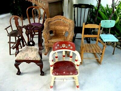 Vintage Childrens Chairs !!! Lot Of 7,