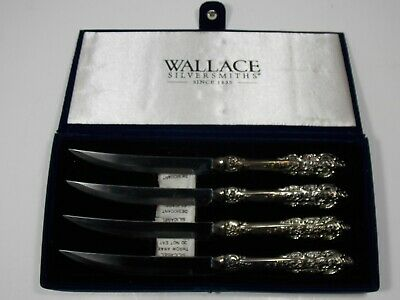 Vintage Wallace Silversmiths W6222909 Silver Plated Baroque Steak Knife Set