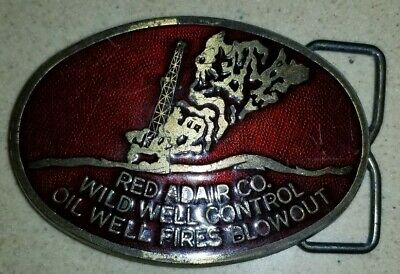 '70s **RED ADAIR COMPANY** COLLECTABLE, WILD WELL CONTROL OILFIELD BELT BUCKLE