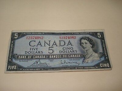 1954 - $5 Canada note - Canadian five dollar bill - SX2374082