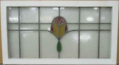 "OLD ENGLISH LEADED STAINED GLASS WINDOW TRANSOM Nice Geometric Band 34.25"" x 19"""