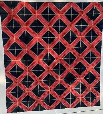 Quilt Top, 19th C, never washed, stitched, Bed Covering Circa 1880
