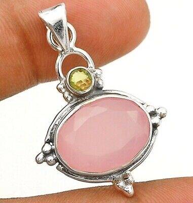 Faceted Rose Quartz 925 Solid Sterling Silver Pendant Jewelry C16-4